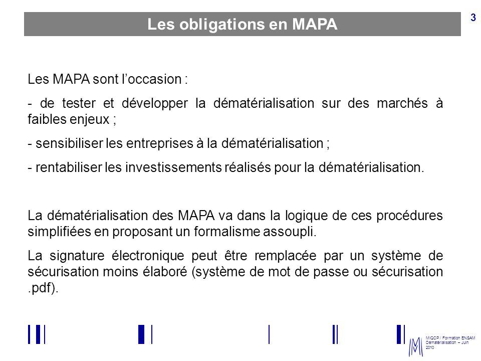 Les obligations en MAPA
