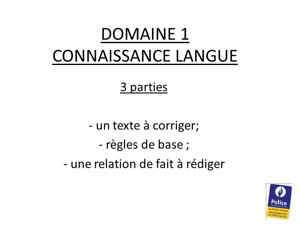 DOMAINE 1 CONNAISSANCE LANGUE