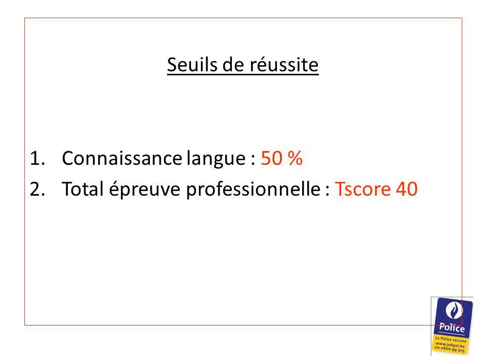 Seuils de réussite Connaissance langue : 50 % Total épreuve professionnelle : Tscore 40