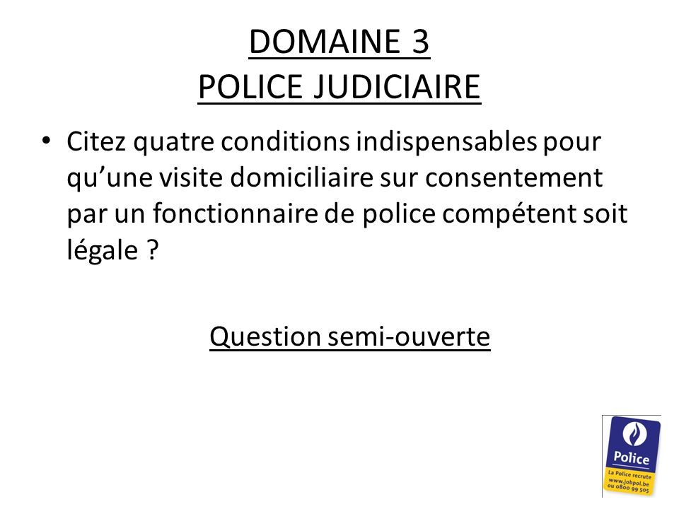 DOMAINE 3 POLICE JUDICIAIRE