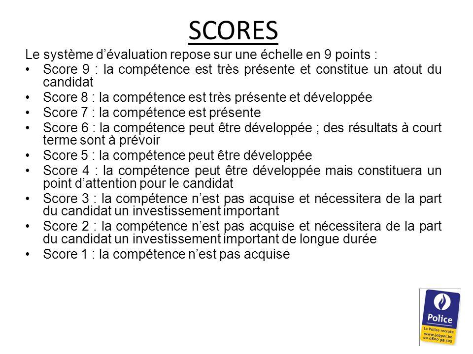 SCORES Le système d'évaluation repose sur une échelle en 9 points :