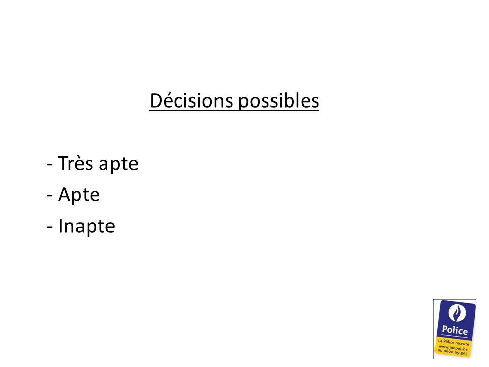 Décisions possibles - Très apte - Apte - Inapte