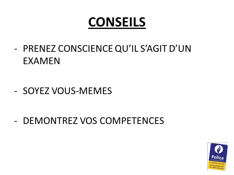 CONSEILS PRENEZ CONSCIENCE QU'IL S'AGIT D'UN EXAMEN SOYEZ VOUS-MEMES