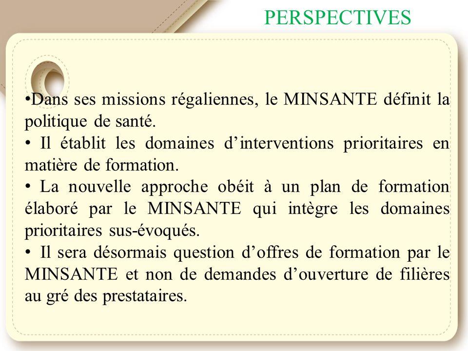 PERSPECTIVES Dans ses missions régaliennes, le MINSANTE définit la politique de santé.