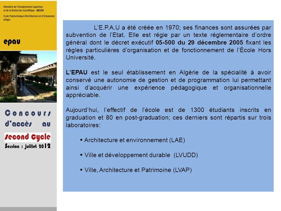L'E.P.A.U a été créée en 1970; ses finances sont assurées par subvention de l'Etat. Elle est régie par un texte réglementaire d'ordre général dont le décret exécutif 05-500 du 29 décembre 2005 fixant les règles particulières d'organisation et de fonctionnement de l'École Hors Université.