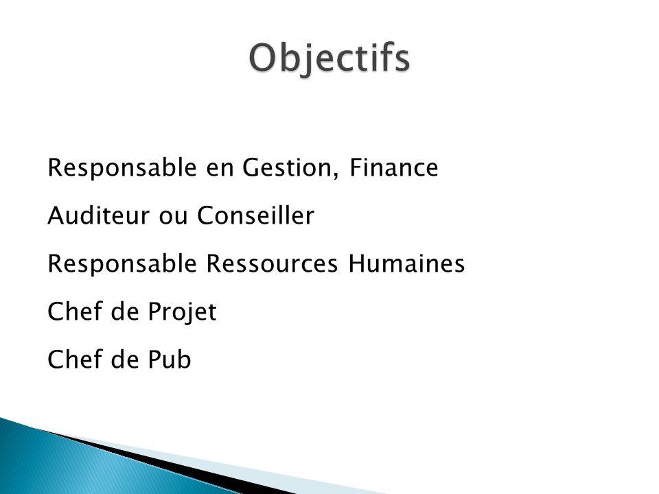 Objectifs Responsable en Gestion, Finance Auditeur ou Conseiller Responsable Ressources Humaines Chef de Projet Chef de Pub