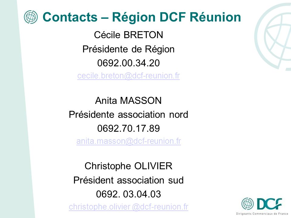 Contacts – Région DCF Réunion