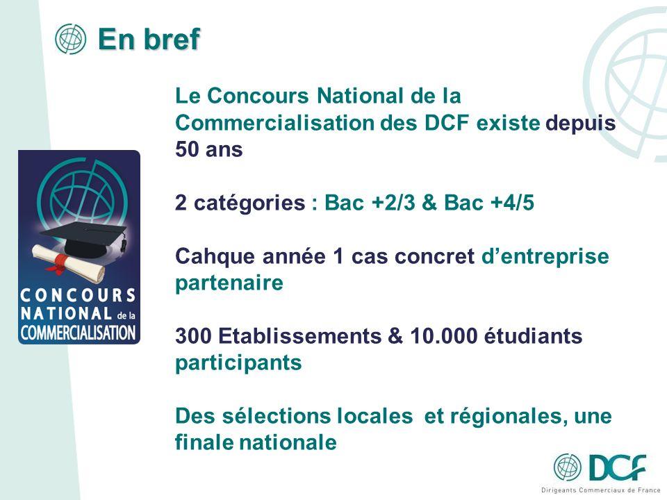 En bref Le Concours National de la Commercialisation des DCF existe depuis 50 ans. 2 catégories : Bac +2/3 & Bac +4/5.