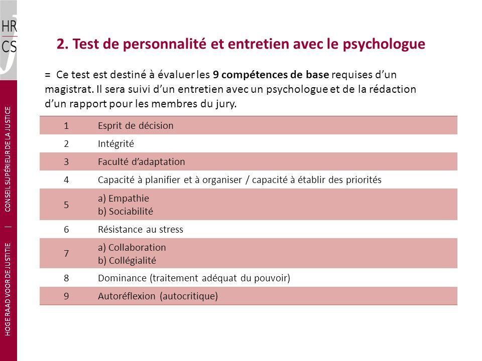 2. Test de personnalité et entretien avec le psychologue