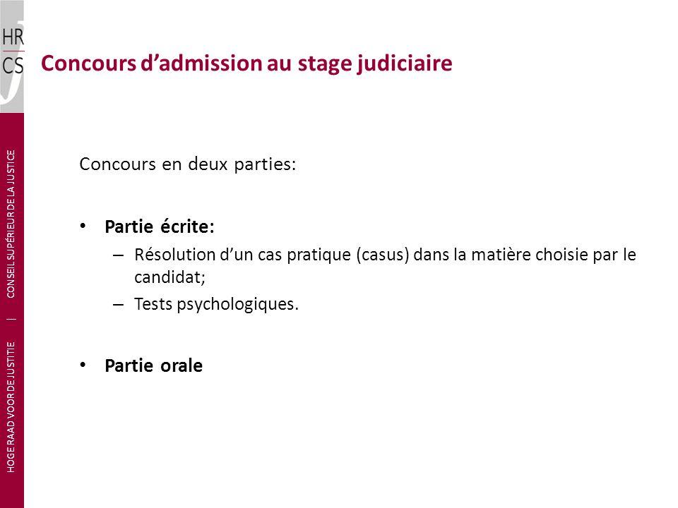 Concours d'admission au stage judiciaire