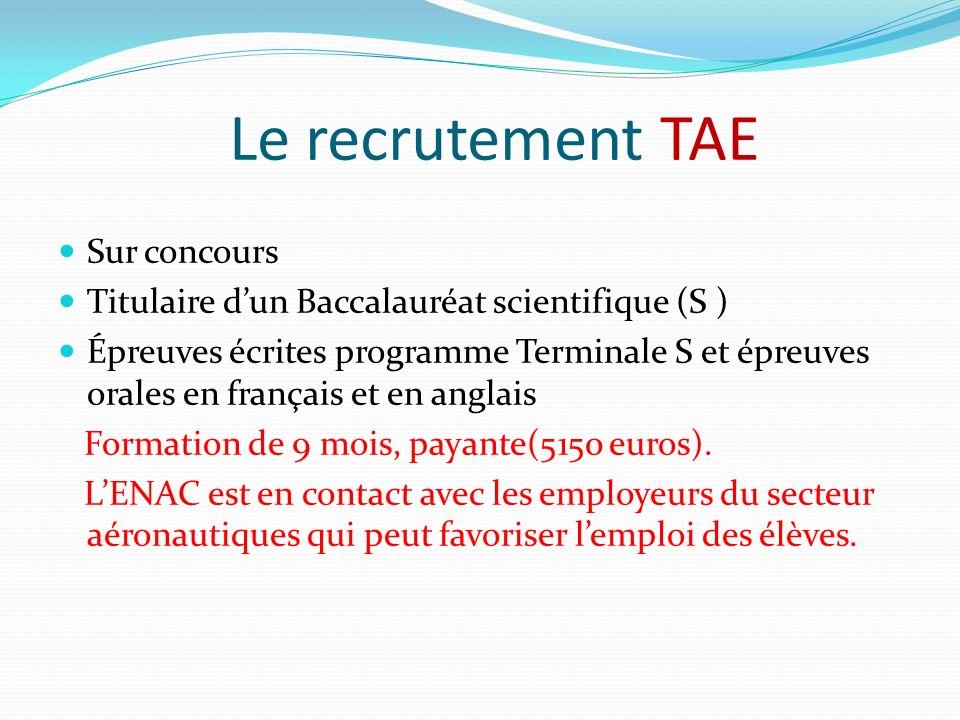 Le recrutement TAE Sur concours