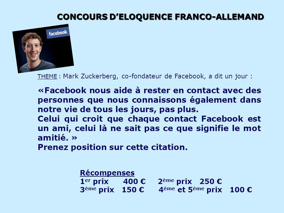 ACTIONS EXISTANTES Organisation du CONCOURS D'ELOQUENCE EN FRANCAIS. Thème 2013 :