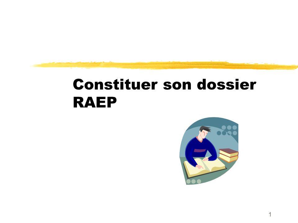 Constituer son dossier RAEP