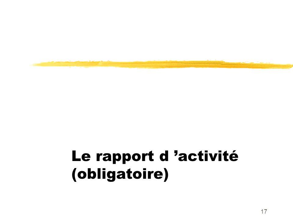Le rapport d 'activité (obligatoire)