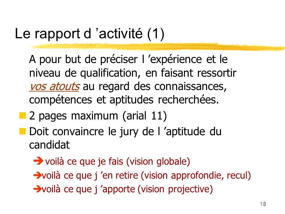 Le rapport d 'activité (1)