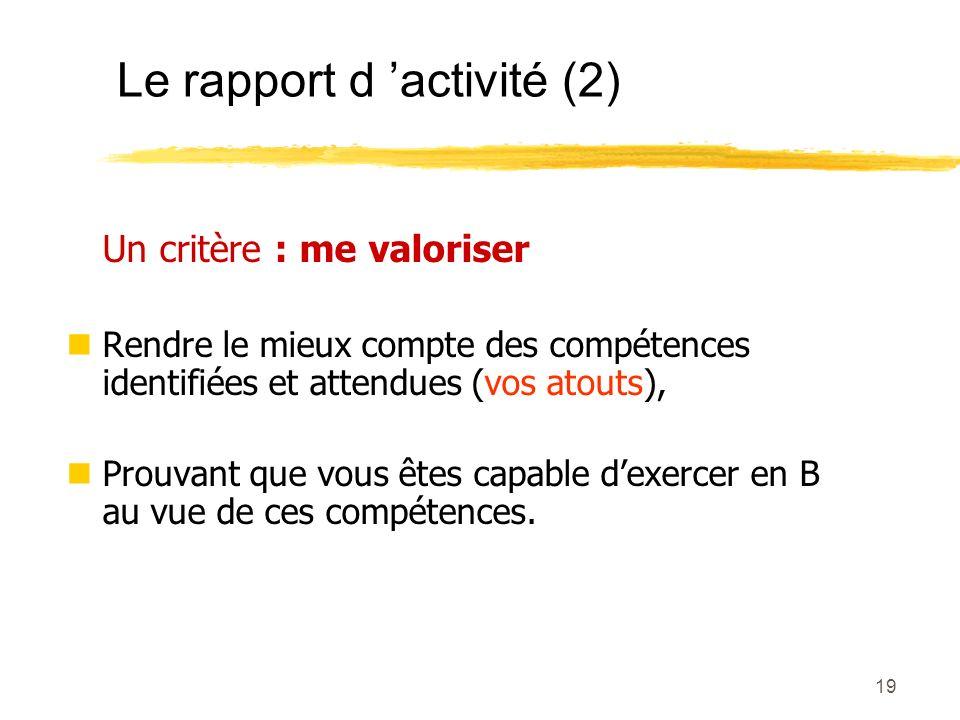 Le rapport d 'activité (2)