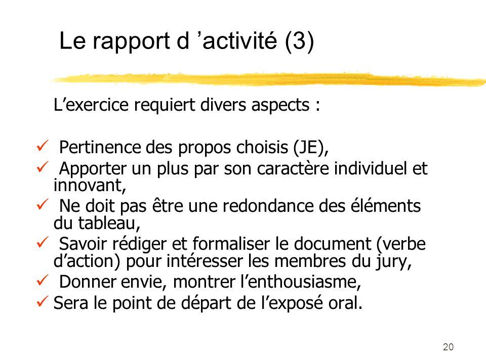 Le rapport d 'activité (3)
