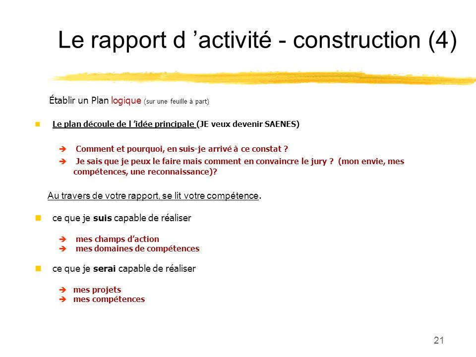 Le rapport d 'activité - construction (4)