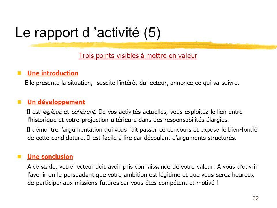 Le rapport d 'activité (5)