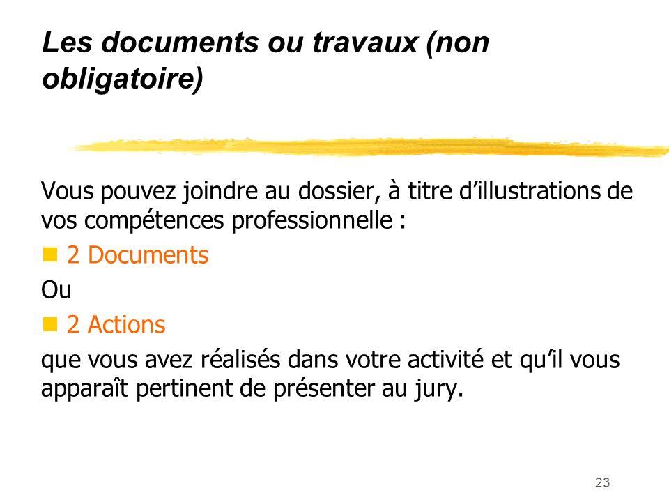 Les documents ou travaux (non obligatoire)