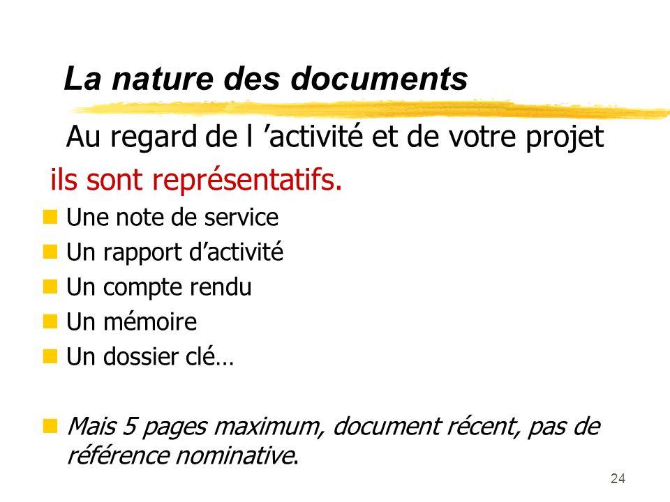 La nature des documents
