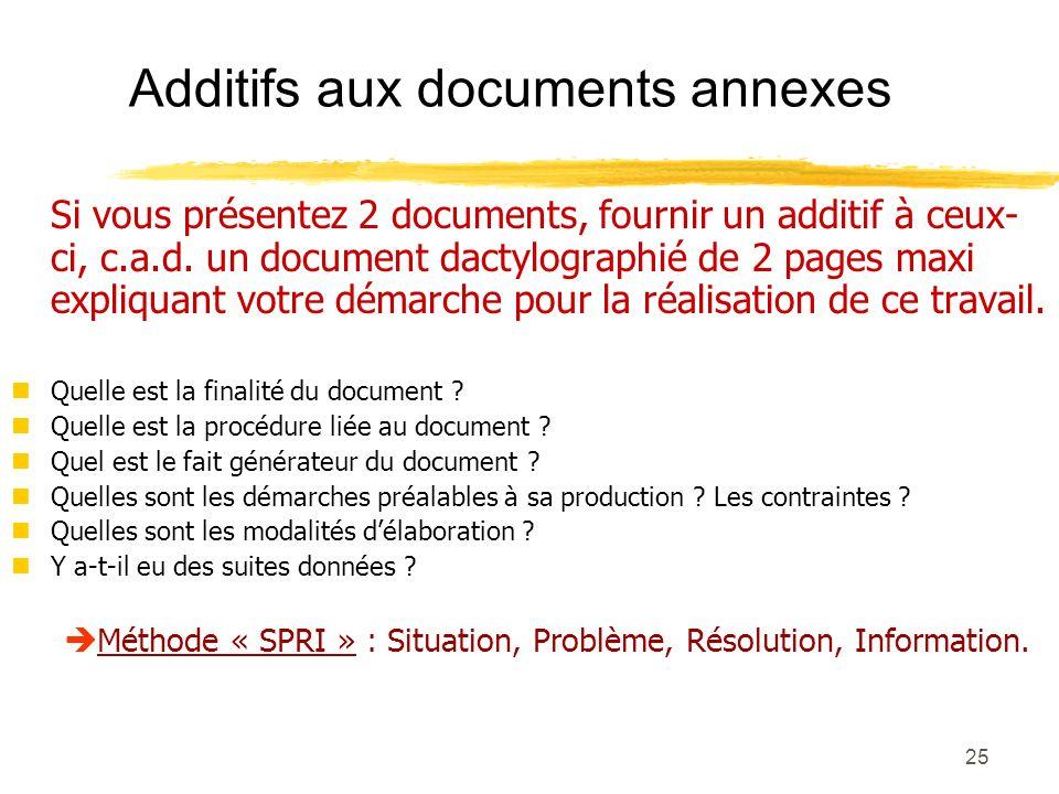Additifs aux documents annexes