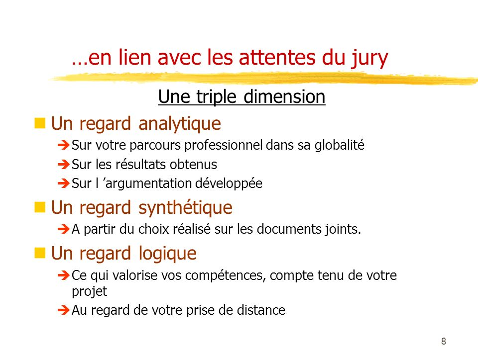 …en lien avec les attentes du jury