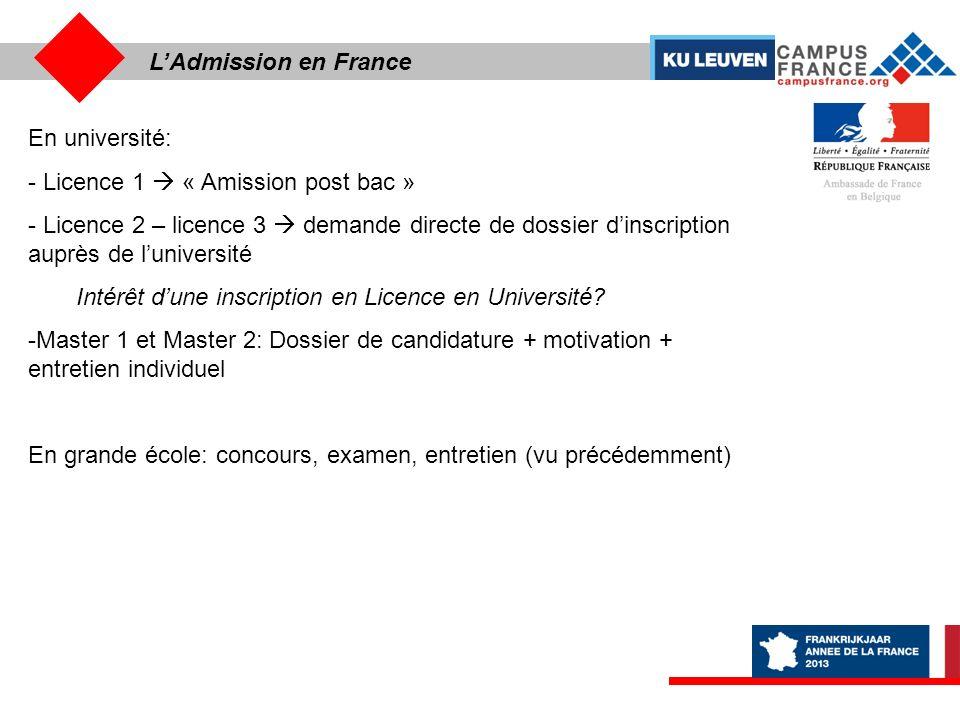 L'Admission en France En université: Licence 1  « Amission post bac »