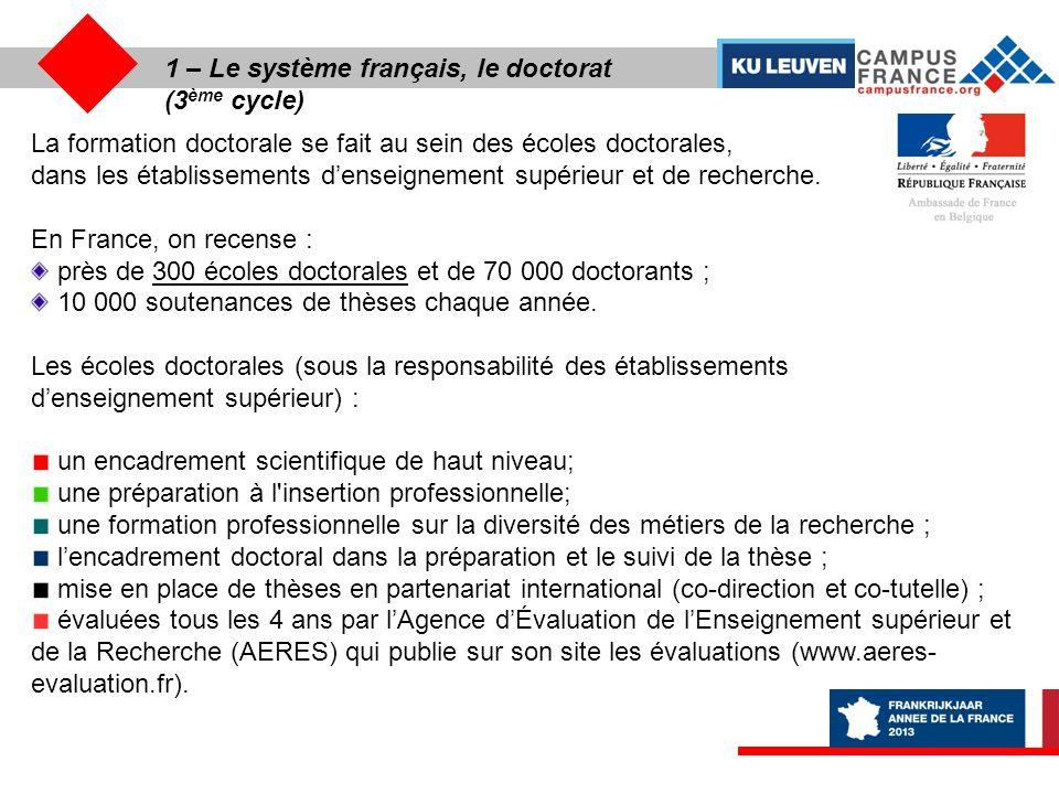 1 – Le système français, le doctorat (3ème cycle)