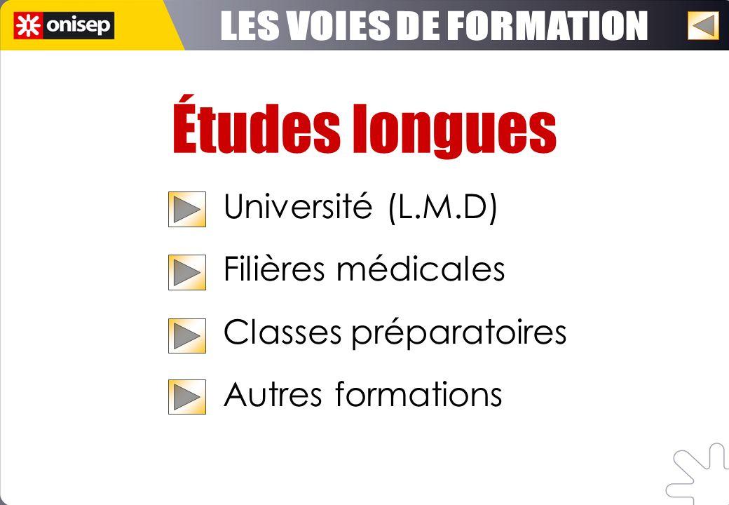 Études longues LES VOIES DE FORMATION Université (L.M.D)
