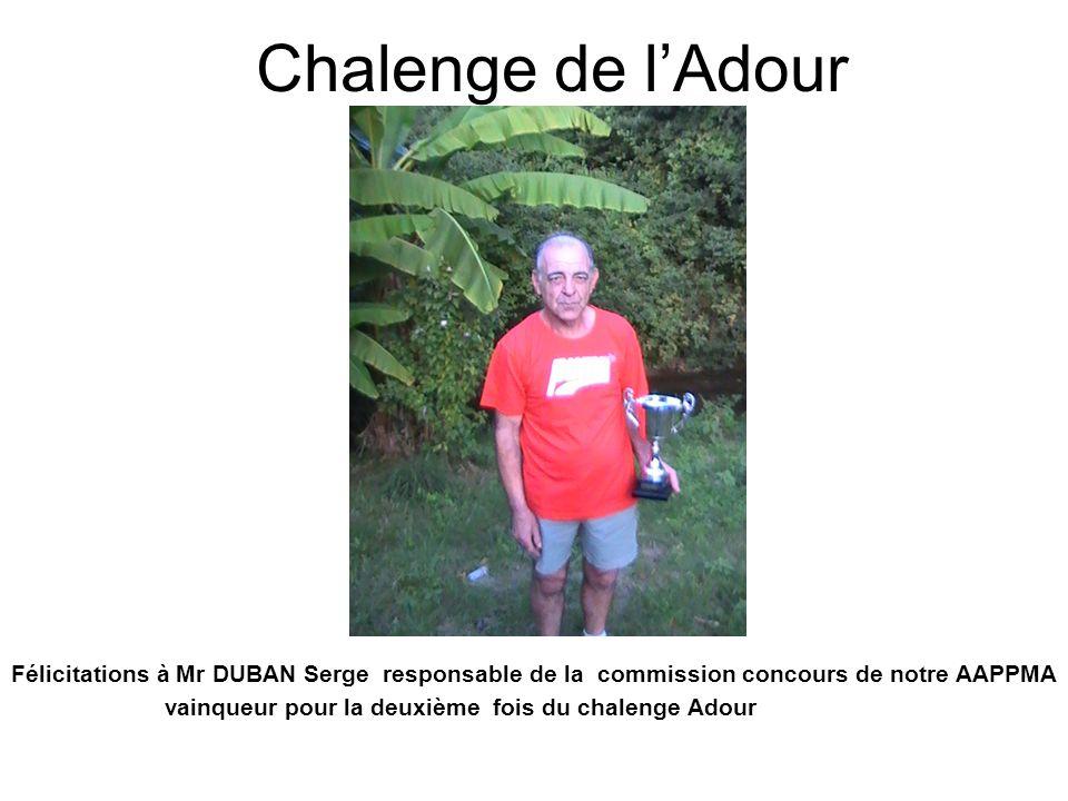 Chalenge de l'Adour Félicitations à Mr DUBAN Serge responsable de la commission concours de notre AAPPMA.
