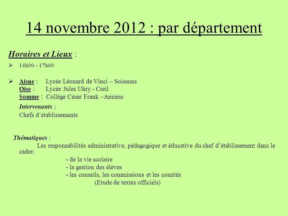 14 novembre 2012 : par département
