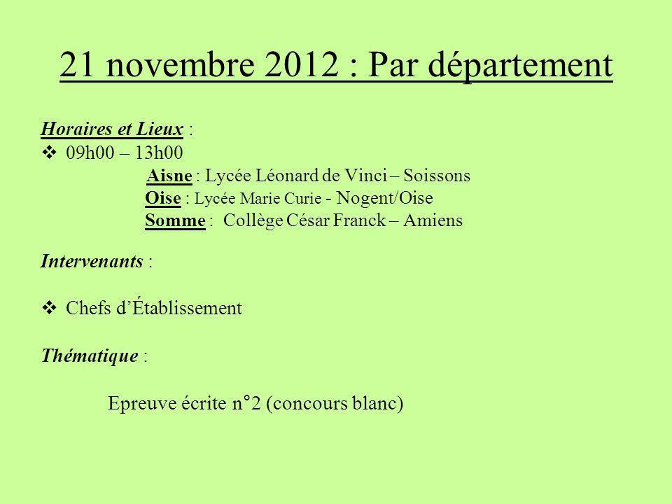 21 novembre 2012 : Par département