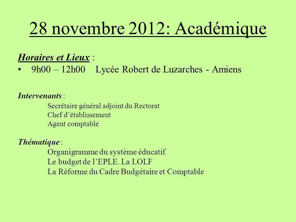 28 novembre 2012: Académique Horaires et Lieux :
