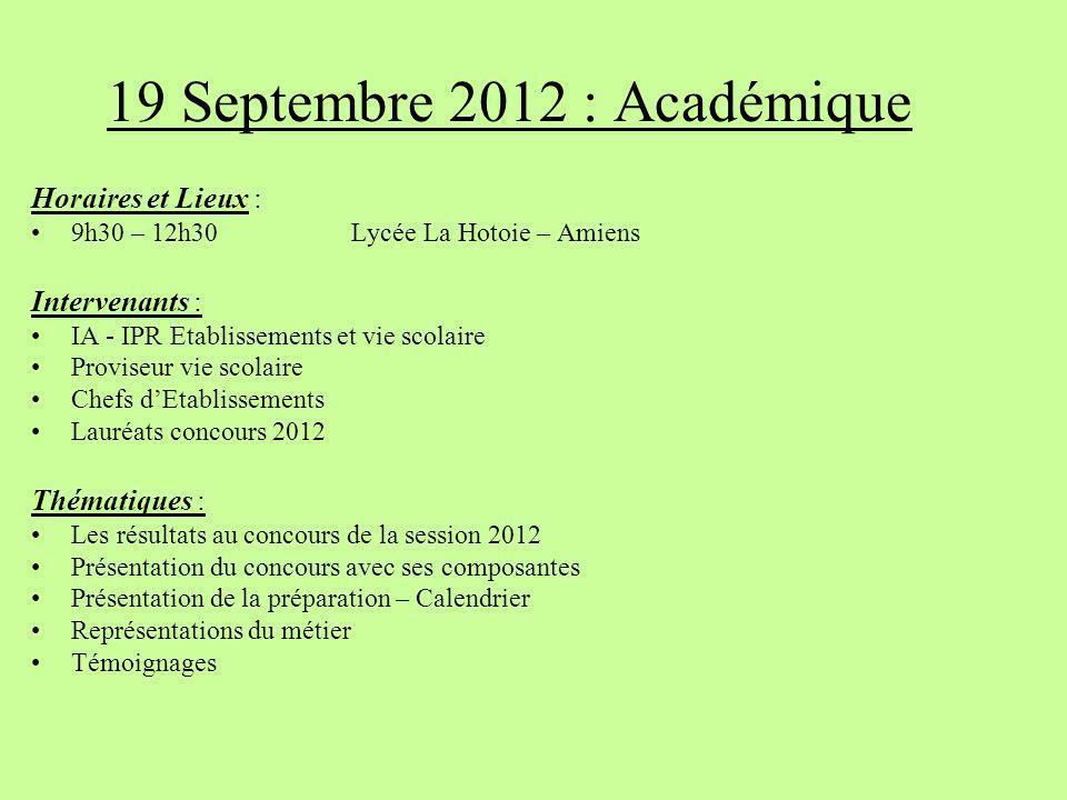 19 Septembre 2012 : Académique