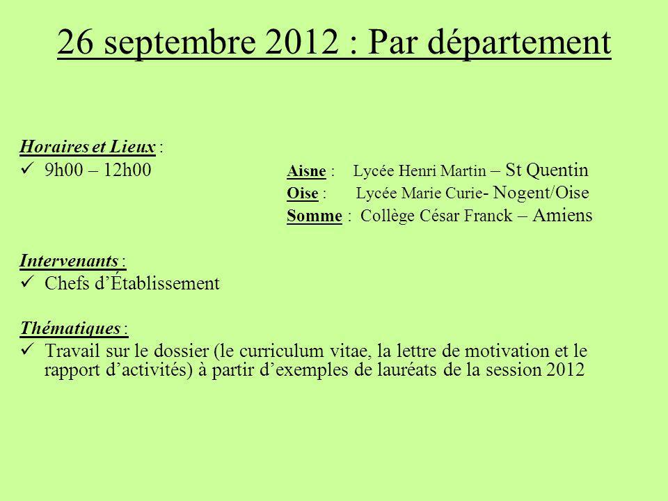 26 septembre 2012 : Par département