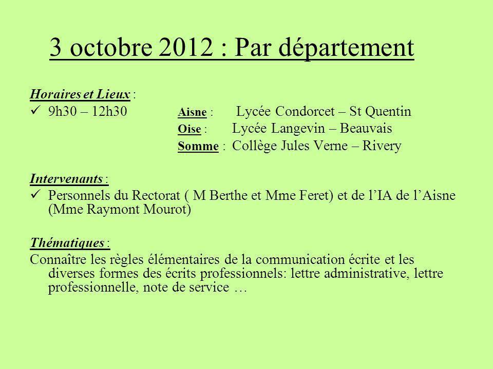 3 octobre 2012 : Par département
