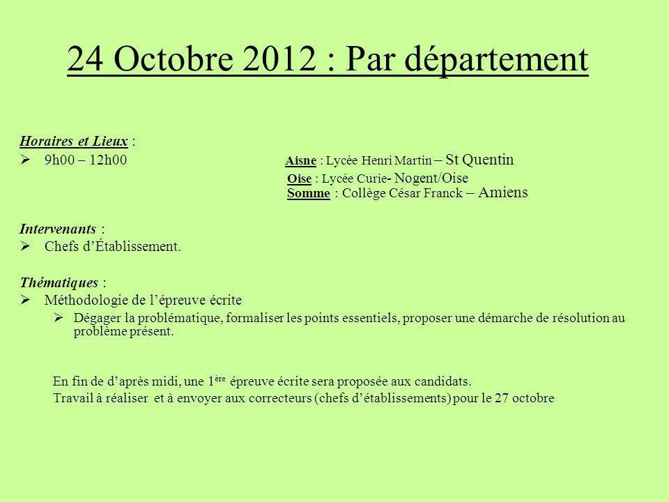 24 Octobre 2012 : Par département