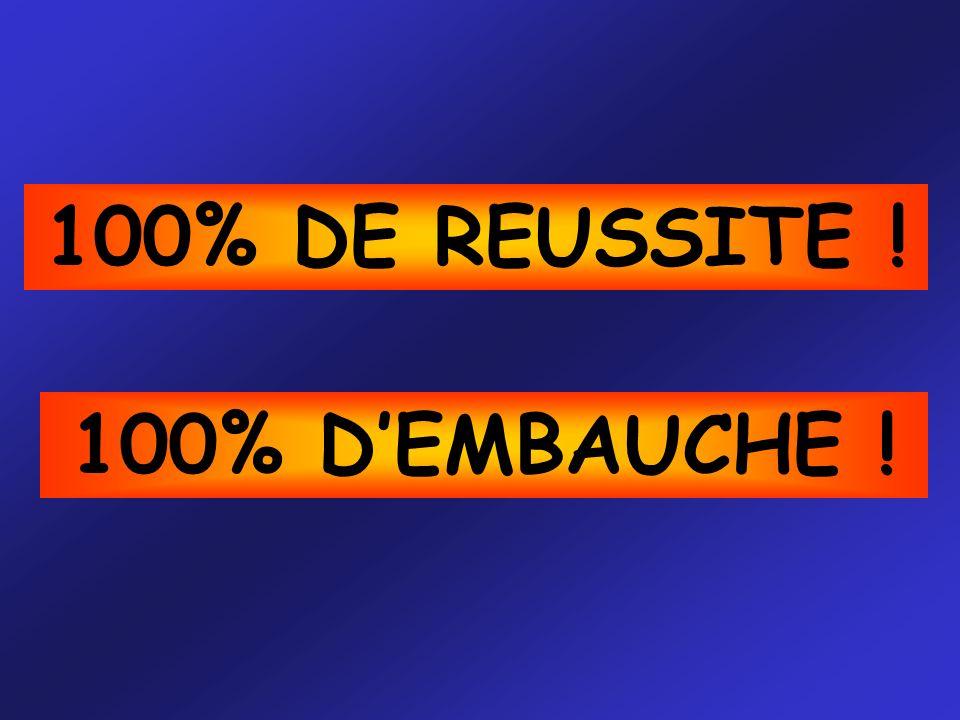 100% DE REUSSITE ! 100% D'EMBAUCHE !