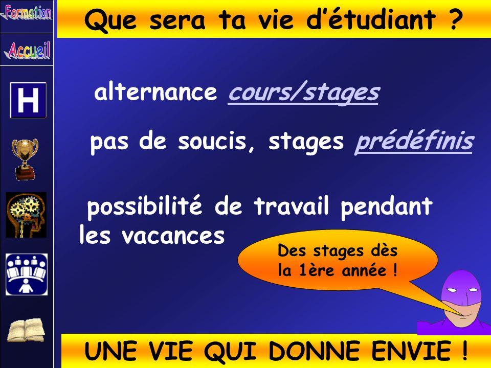 Que sera ta vie d'étudiant Des stages dès la 1ère année !