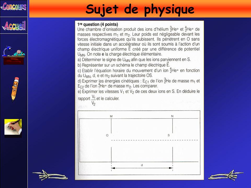 Sujet de physique Concours Accueil