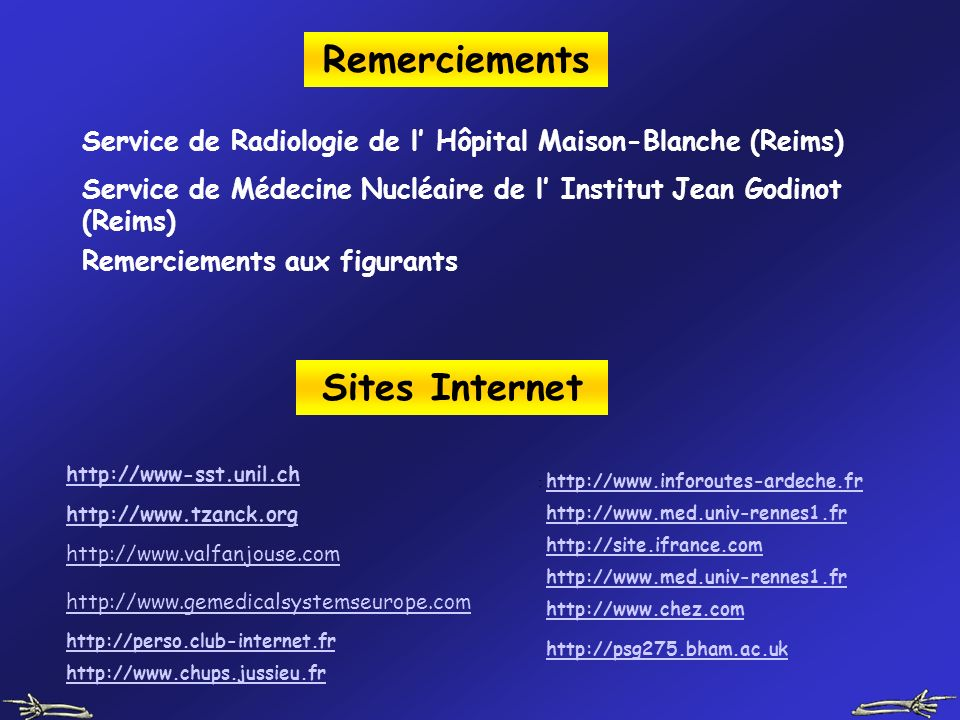 Remerciements Sites Internet