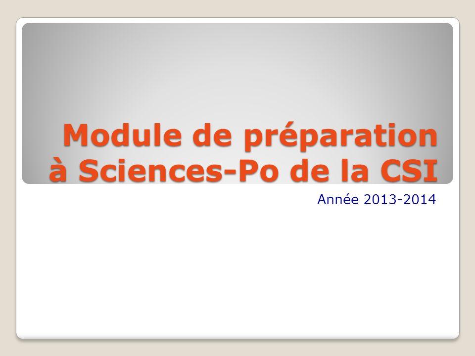 Module de préparation à Sciences-Po de la CSI