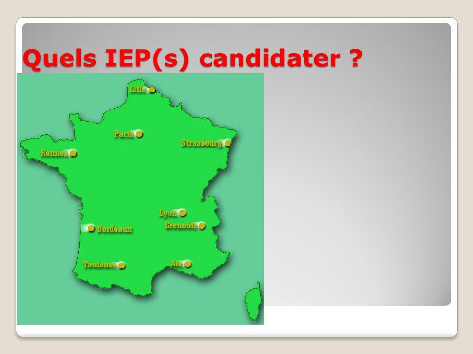 Quels IEP(s) candidater