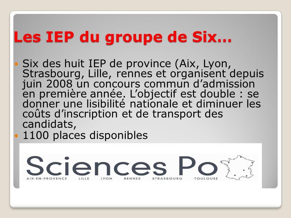 Les IEP du groupe de Six…