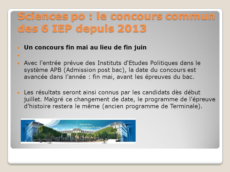 Sciences po : le concours commun des 6 IEP depuis 2013