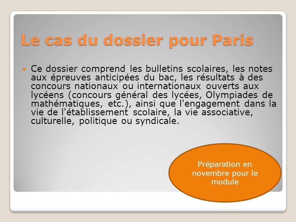 Le cas du dossier pour Paris