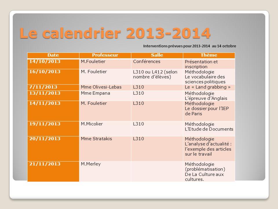 Interventions prévues pour 2013-2014 au 14 octobre