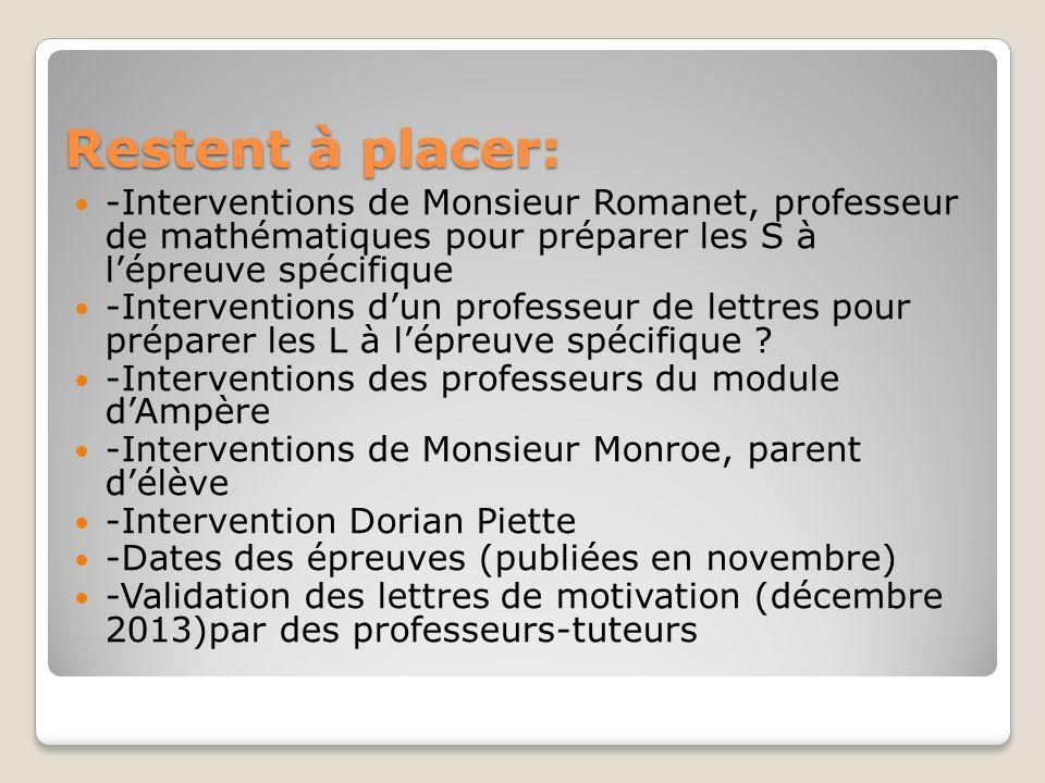 Restent à placer: -Interventions de Monsieur Romanet, professeur de mathématiques pour préparer les S à l'épreuve spécifique.