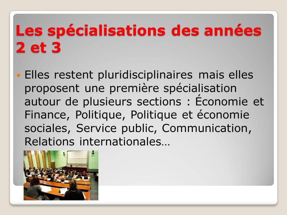 Les spécialisations des années 2 et 3